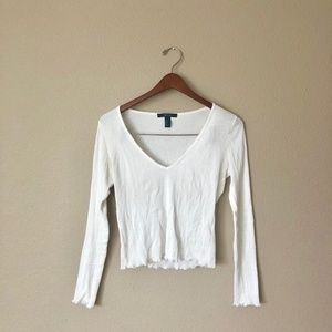 White Ribbed Lettuce-Edge V-Neck Long Sleeve Top